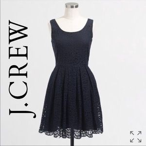 J. Crew Navy Swirl Lace Dress Size 6